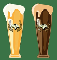 Two glasses of beer vector