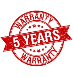 5 years warranty grunge retro red isolated ribbon vector