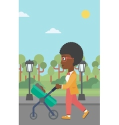 Mother walking with her baby in stroller vector