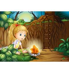 A sad girl making a campfire vector image vector image