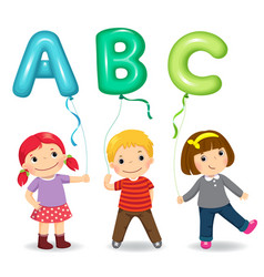 cartoon kids holding letter abc shaped balloons vector image vector image