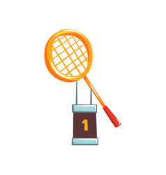 Champion golden trophy with tennis vector