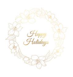 christmas rose hellebore flowers wreath template vector image vector image
