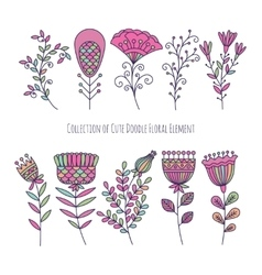 Collection of cute doodle floral elements vector