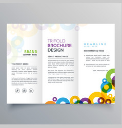 Colorful circles business tri fold brochure vector