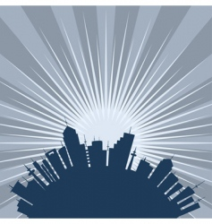 Curved city silhouette vector