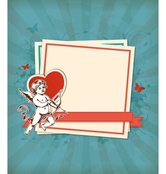 Decorative background with Cupid vector image vector image