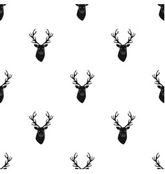 deer head icon in black style isolated on white vector image