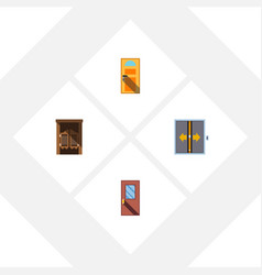 Flat icon approach set of exit saloon lobby and vector