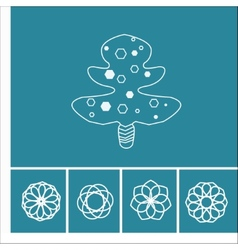 floral icons and tree in outline style vector image