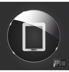 Glass pad button icon on metal background vector image