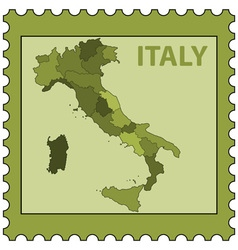 Italy map on stamp vector