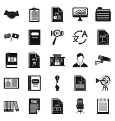 Legal instrument icons set simple style vector