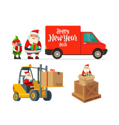 Logistic santa claus and elf with a gift forklift vector