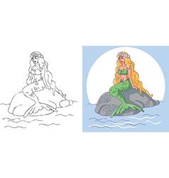 Mermaid sitting on stone vector
