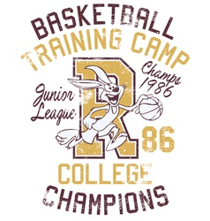 Rabbit basketball training camp vector