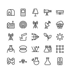 Science and technology line icons 14 vector