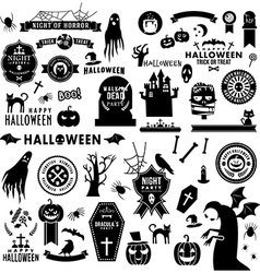 Set of Happy Halloween black silhouettes vector image vector image