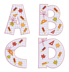 sheet alphabet Letter A B C D vector image vector image