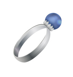 silver ring with round precious diamond vector image