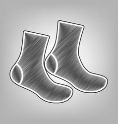 Socks sign pencil sketch imitation dark vector