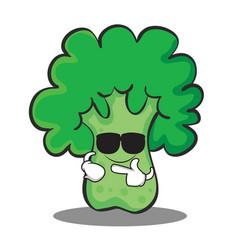 Super cool broccoli chracter cartoon style vector