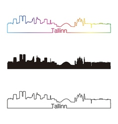 Tallinn skyline linear style with rainbow vector image