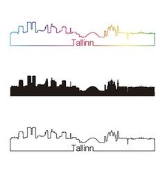 Tallinn skyline linear style with rainbow vector