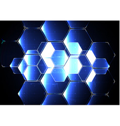 Technological abstract illuminated hexagon vector