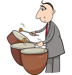 timpani musician cartoon vector image vector image