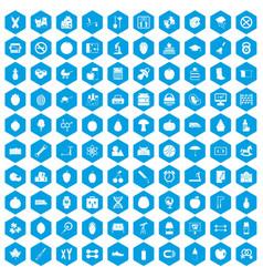 100 apple icons set blue vector