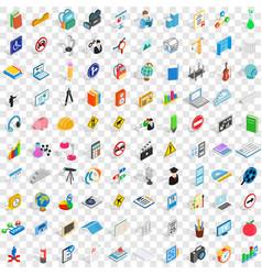 100 school icons set isometric 3d style vector