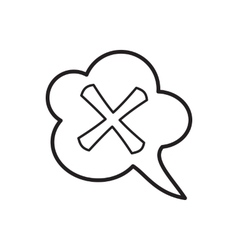 Cross in cloud icon outline style vector