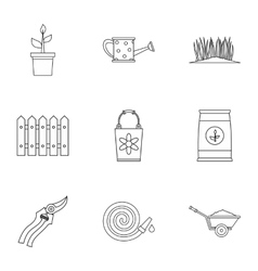 Agriculture icons set outline style vector