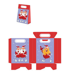 Cute santa claus handbags packages pattern vector