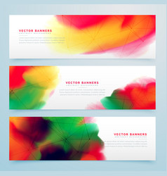 Stylish colorful watercolor banners set design vector