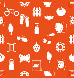 June month theme set of simple icons seamless vector