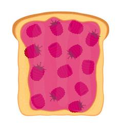 Raspberry jam on toast with jelly flat style vector