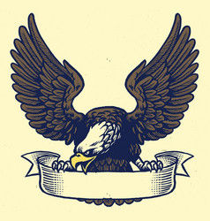 Hand drawing style of eagle grip the ribbon vector