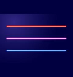 Neon blue red pink glowing lines or light swords vector