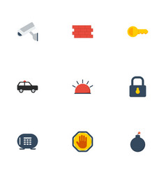 Flat icons siren clue explosive and other vector