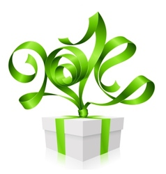 Gift box and green ribbon in the shape of 2014 vector