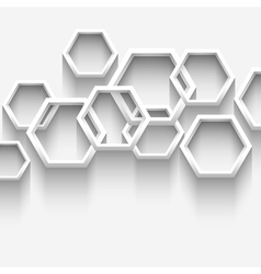 White geometric background with hexagons vector