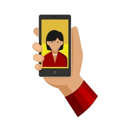 Woman making selfie photo on phone flat icon vector