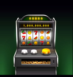 3d slots machine wins the jackpot background vector