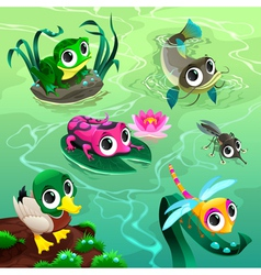 Funny animals in the pond vector