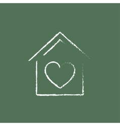 House with heart symbol icon drawn in chalk vector