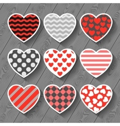 Happy valentines day set of heart stickers on wood vector