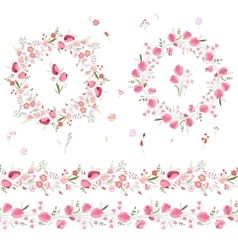 Two floral round garlands and endless pattern vector image