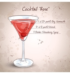 Alcoholic cocktail rose vector